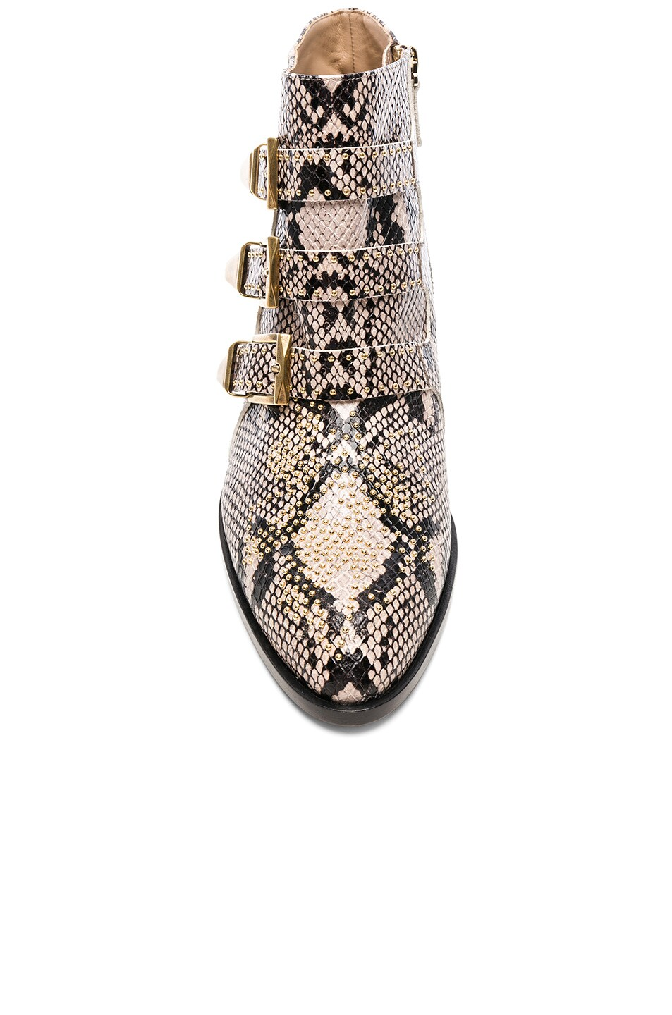 Image 4 of Chloe Susanna Python Print Leather Studded Ankle Boots in Eternal Grey