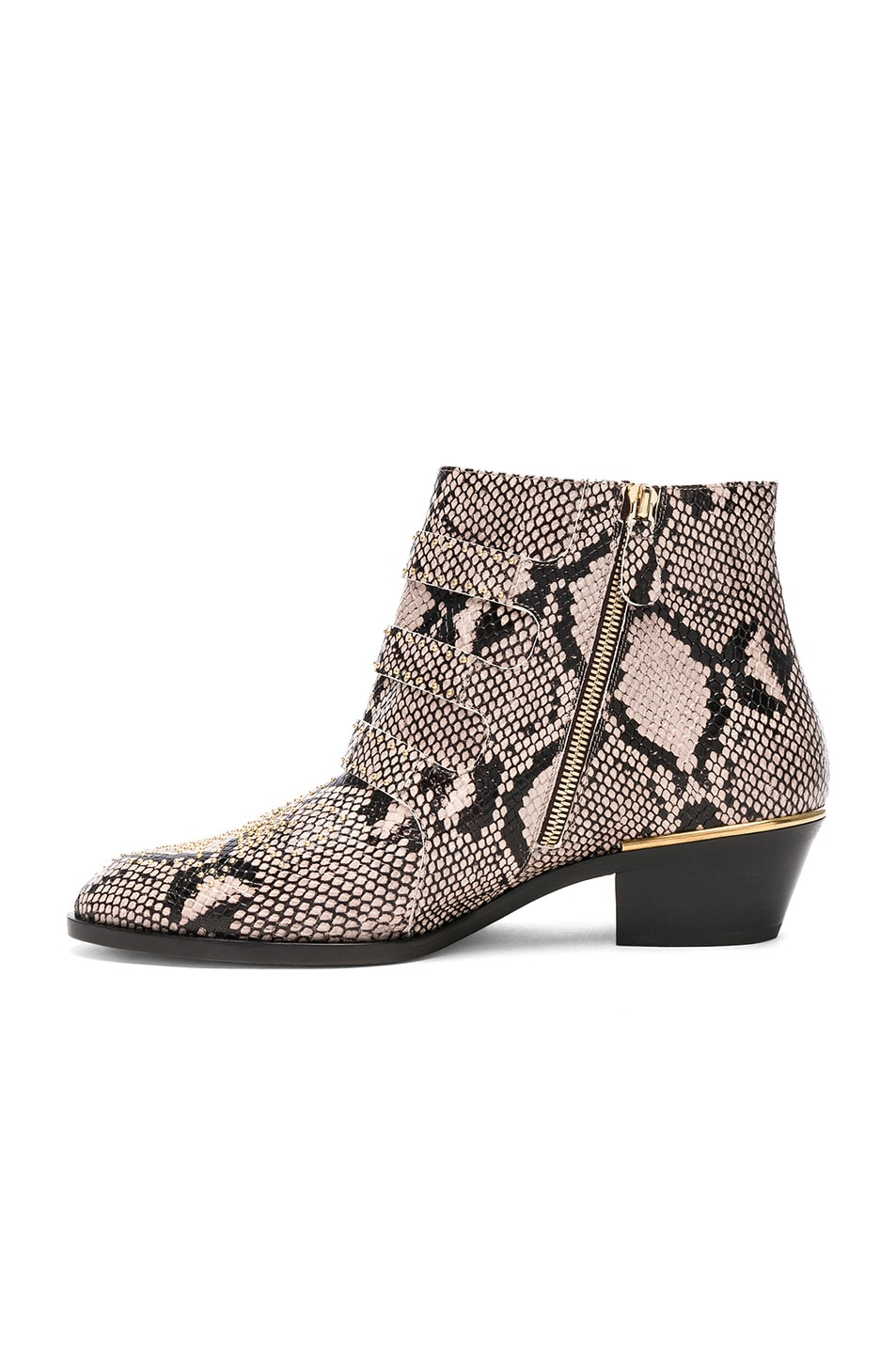 Image 5 of Chloe Susanna Python Print Leather Studded Ankle Boots in Eternal Grey