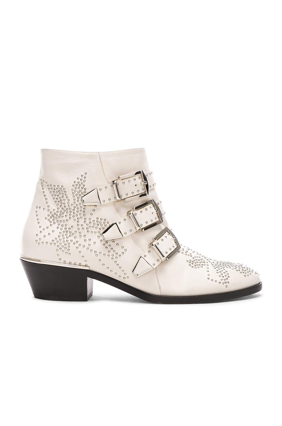 Image 1 of Chloe Susanna Leather Studded Ankle Boots in Cloudy White