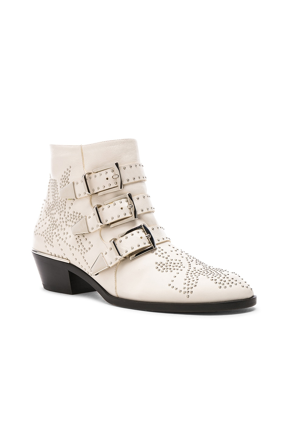 Image 2 of Chloe Susanna Leather Studded Ankle Boots in Cloudy White