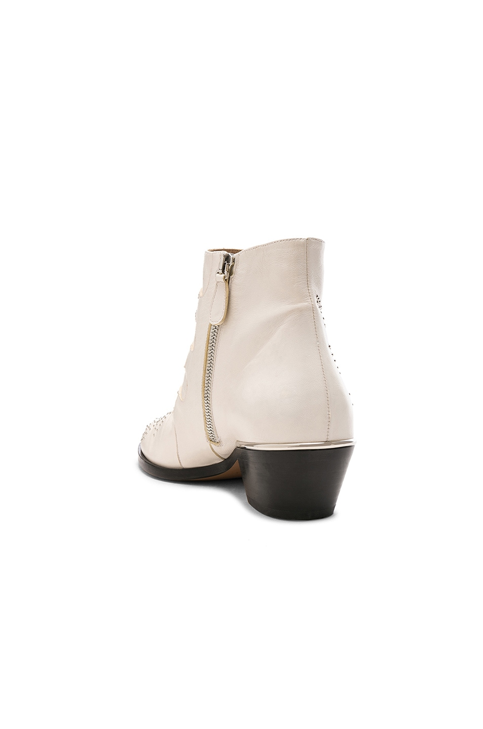 Image 3 of Chloe Susanna Leather Studded Ankle Boots in Cloudy White