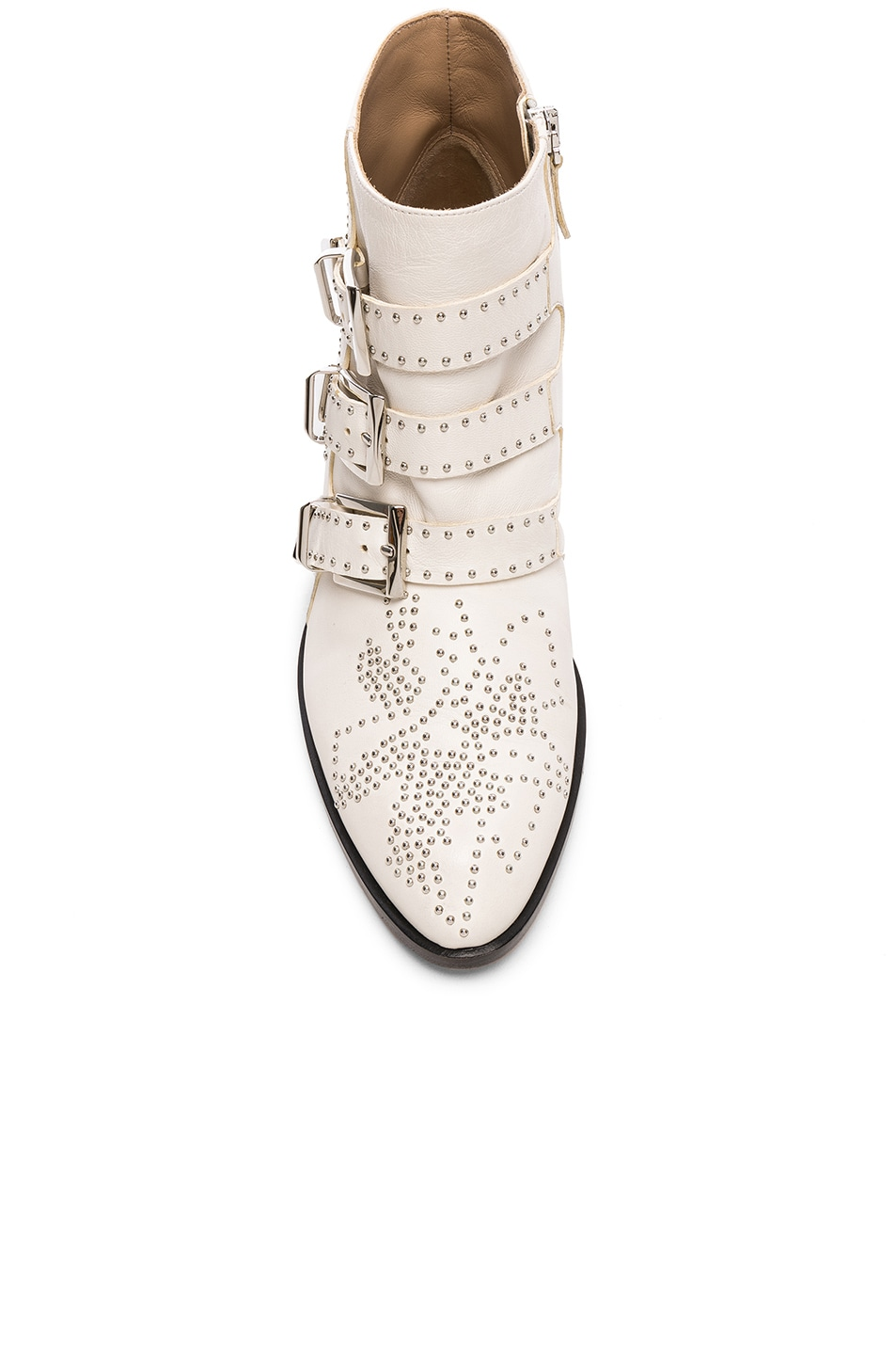 Image 4 of Chloe Susanna Leather Studded Ankle Boots in Cloudy White