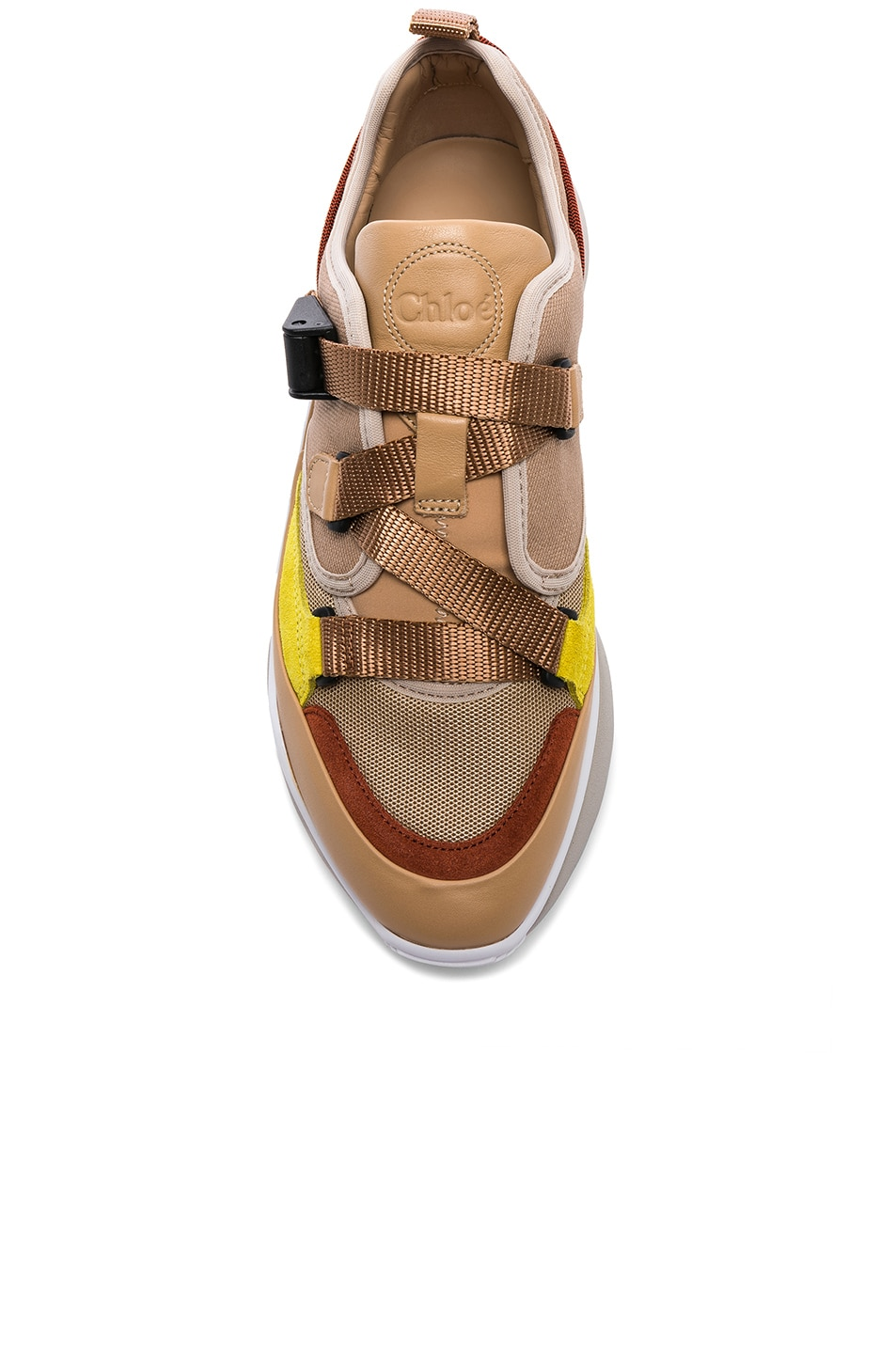 Image 4 of Chloe Sonnie Leather Velcro Strap Sneakers in Maple Pink