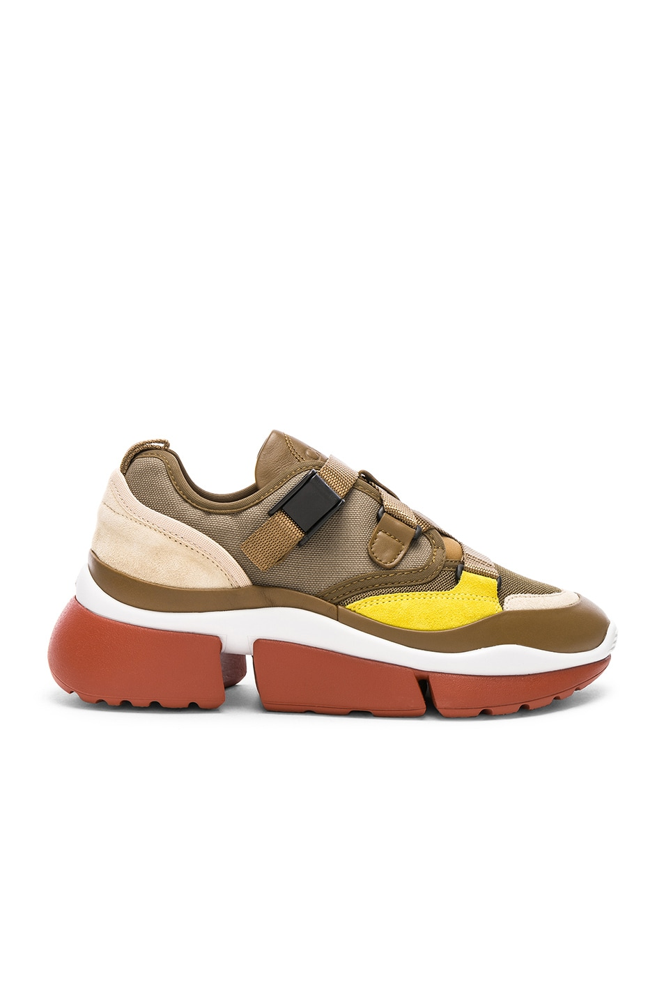 Image 1 of Chloe Sonnie Leather Velcro Strap Sneakers in Sooty Khaki