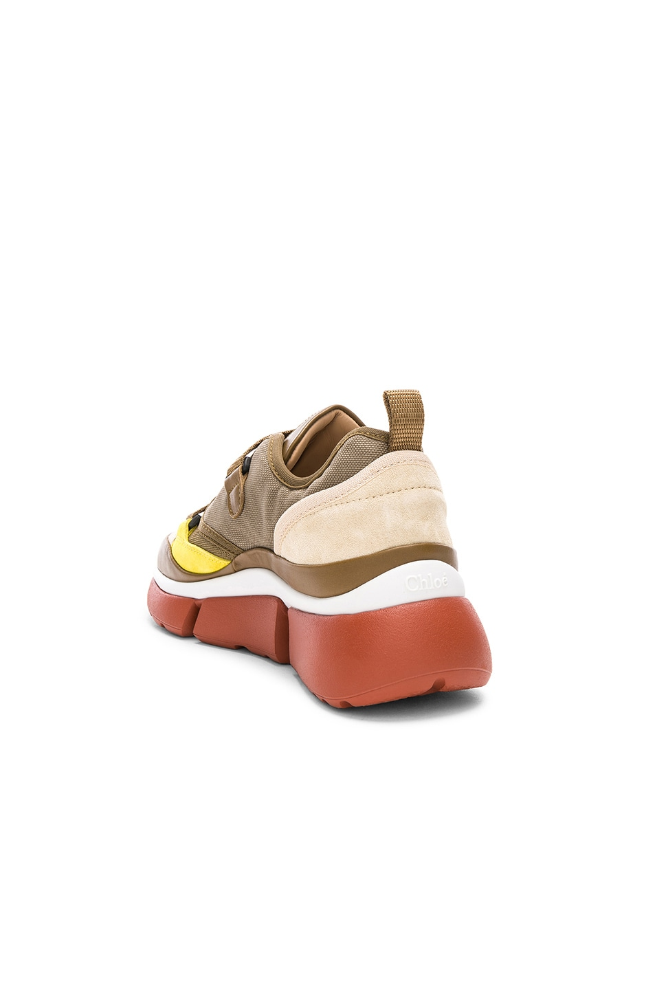 Image 3 of Chloe Sonnie Leather Velcro Strap Sneakers in Sooty Khaki