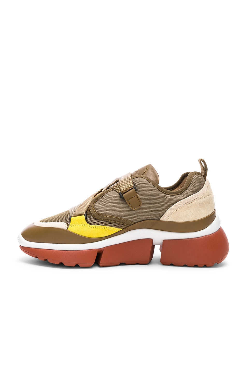 Image 5 of Chloe Sonnie Leather Velcro Strap Sneakers in Sooty Khaki
