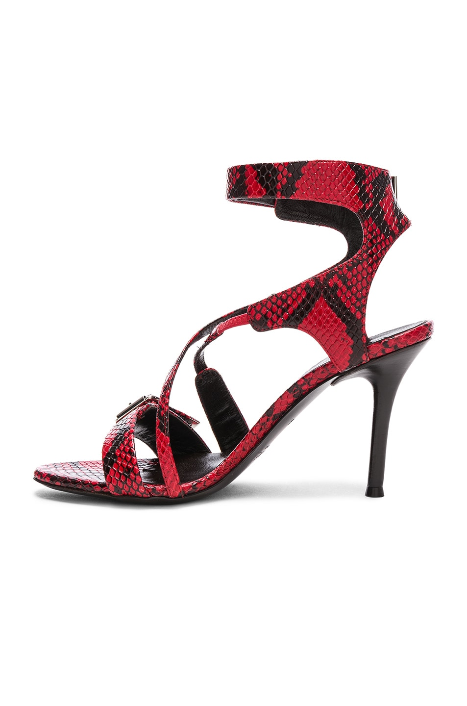 Image 5 of Chloe Scott Python Print Leather Ankle Strap Sandals in Gypsy Red