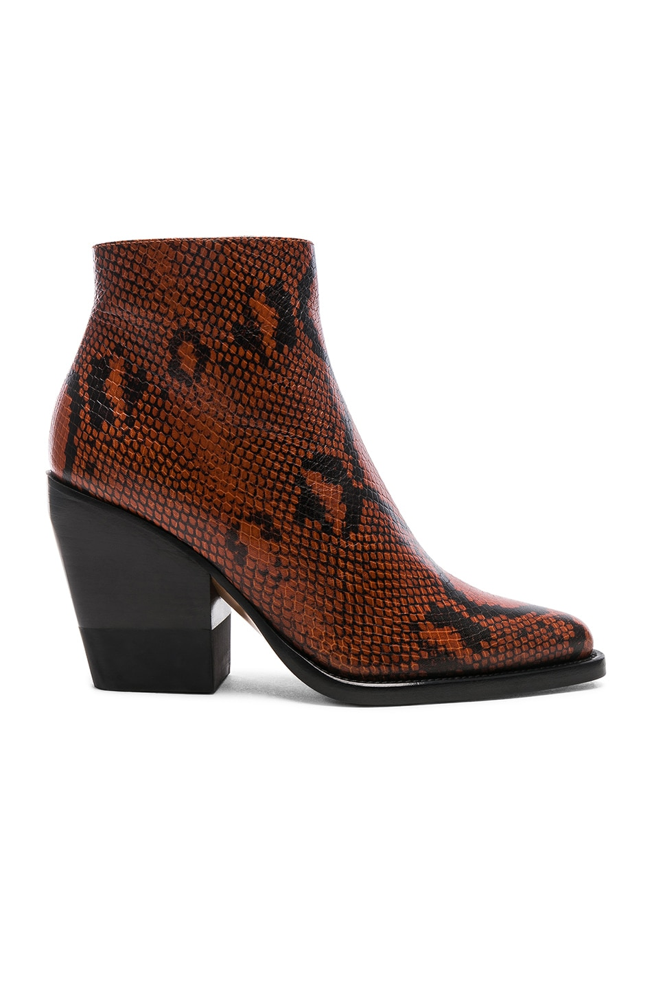 Image 1 of Chloe Python Rylee Print Leather Ankle Boots in Brown