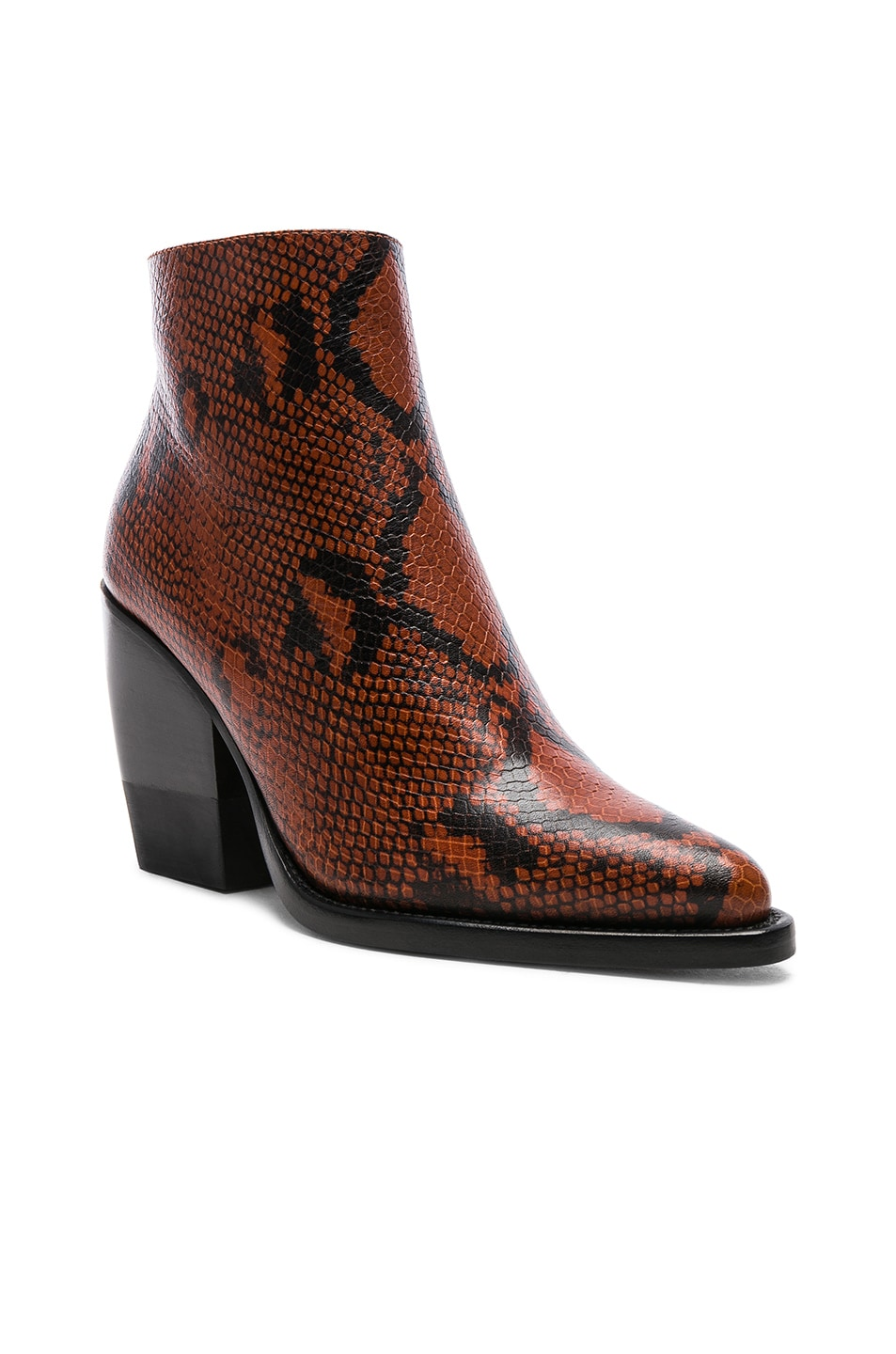 Image 2 of Chloe Python Rylee Print Leather Ankle Boots in Brown