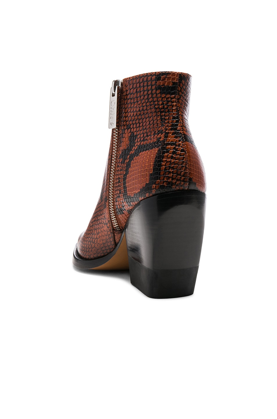 Image 3 of Chloe Python Rylee Print Leather Ankle Boots in Brown