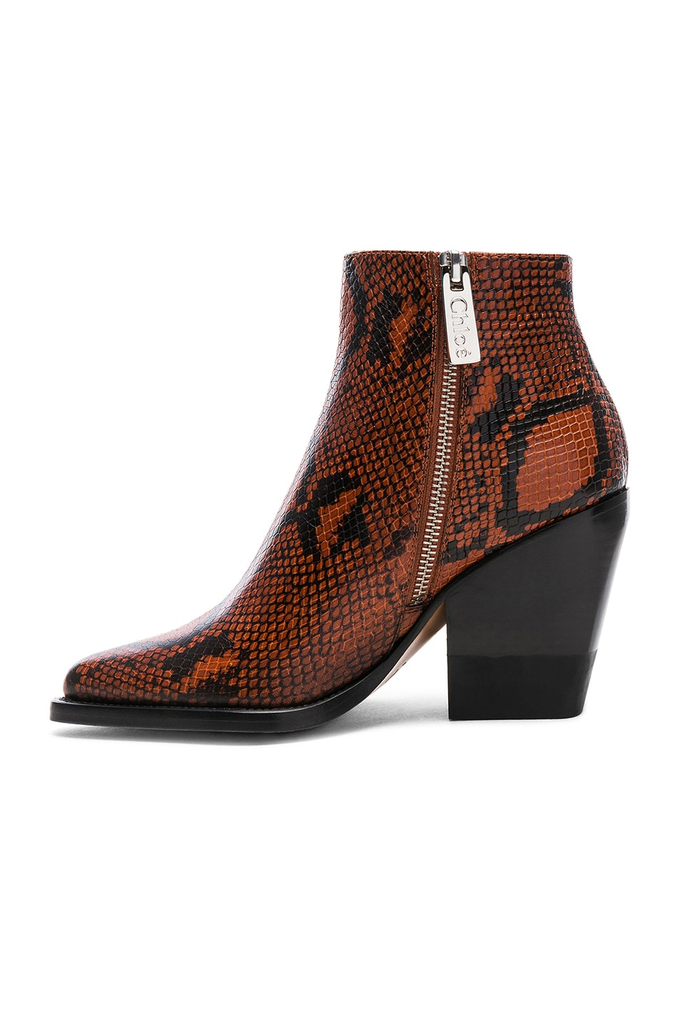 Image 5 of Chloe Python Rylee Print Leather Ankle Boots in Brown