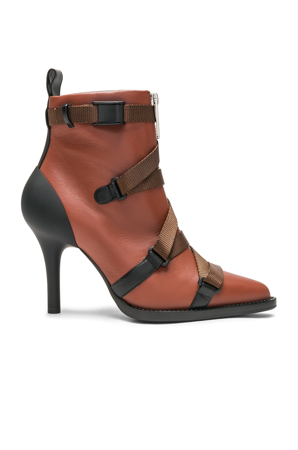 Image 1 of Chloe Tracy Leather Cross Strap Ankle Boots in Sepia Brown