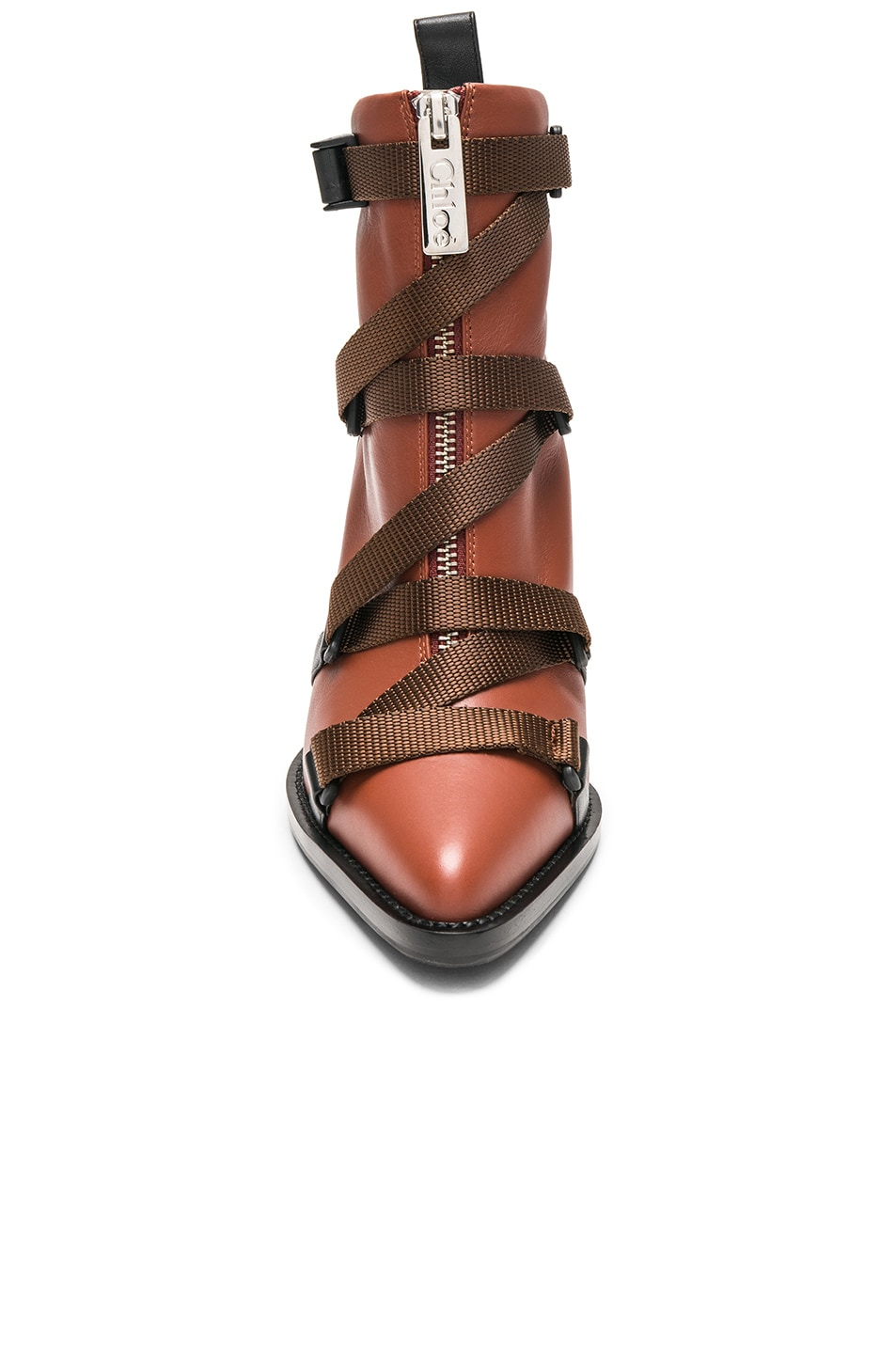 Image 4 of Chloe Tracy Leather Cross Strap Ankle Boots in Sepia Brown