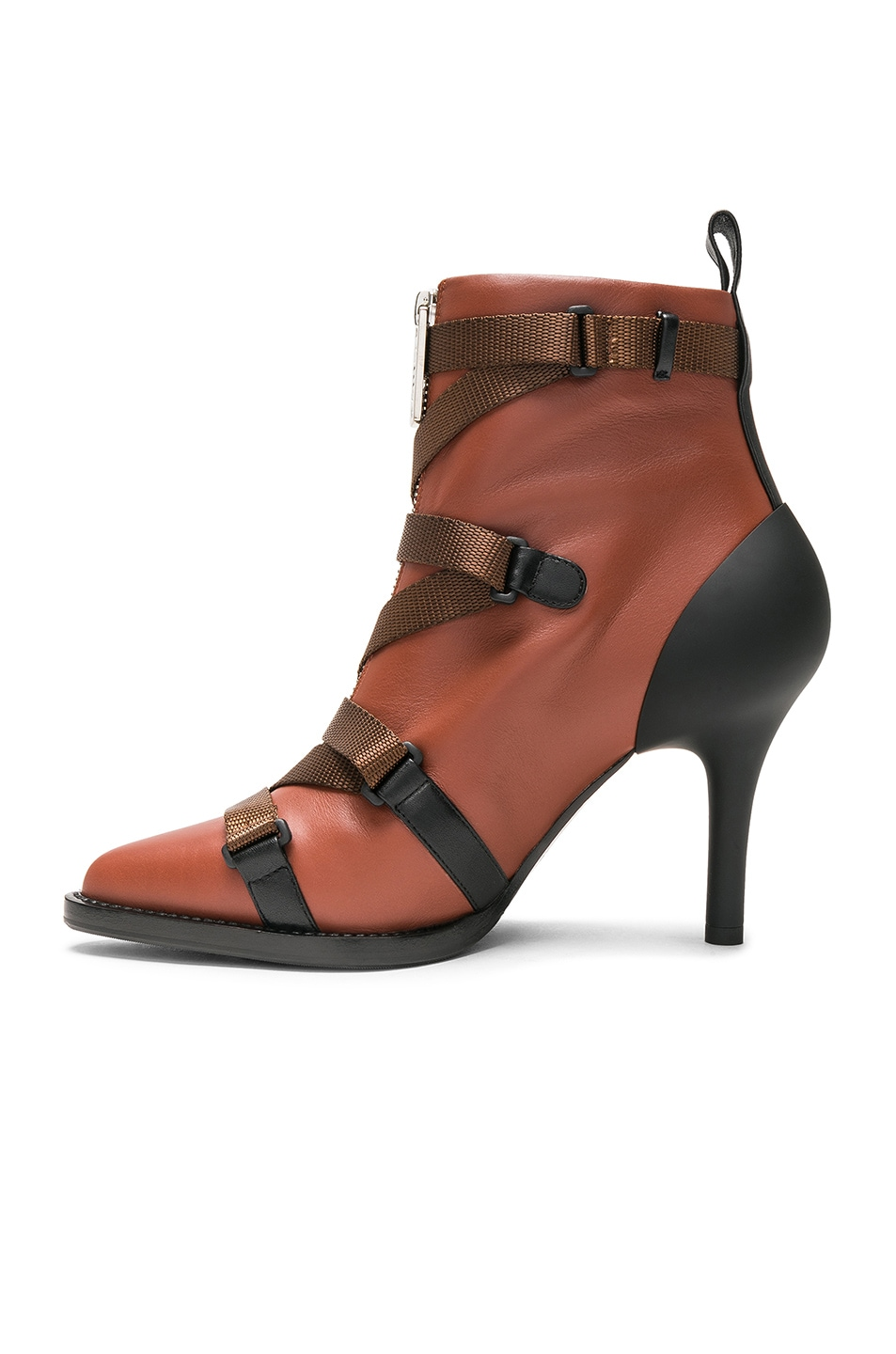 Image 5 of Chloe Tracy Leather Cross Strap Ankle Boots in Sepia Brown