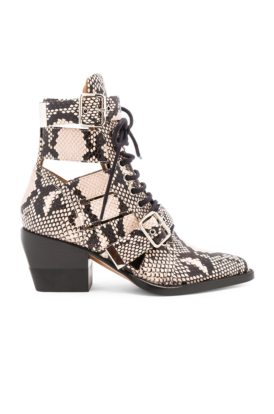 Image 1 of Chloe Rylee Python Print Leather Lace Up Buckle Boots in Eternal Grey