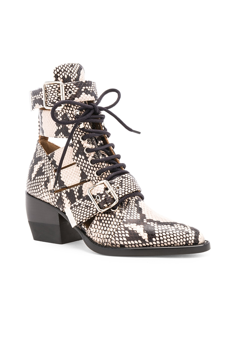 Image 2 of Chloe Rylee Python Print Leather Lace Up Buckle Boots in Eternal Grey