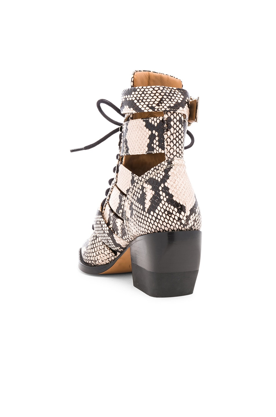 Image 3 of Chloe Rylee Python Print Leather Lace Up Buckle Boots in Eternal Grey