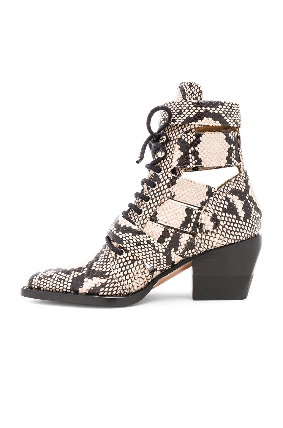 Image 5 of Chloe Rylee Python Print Leather Lace Up Buckle Boots in Eternal Grey