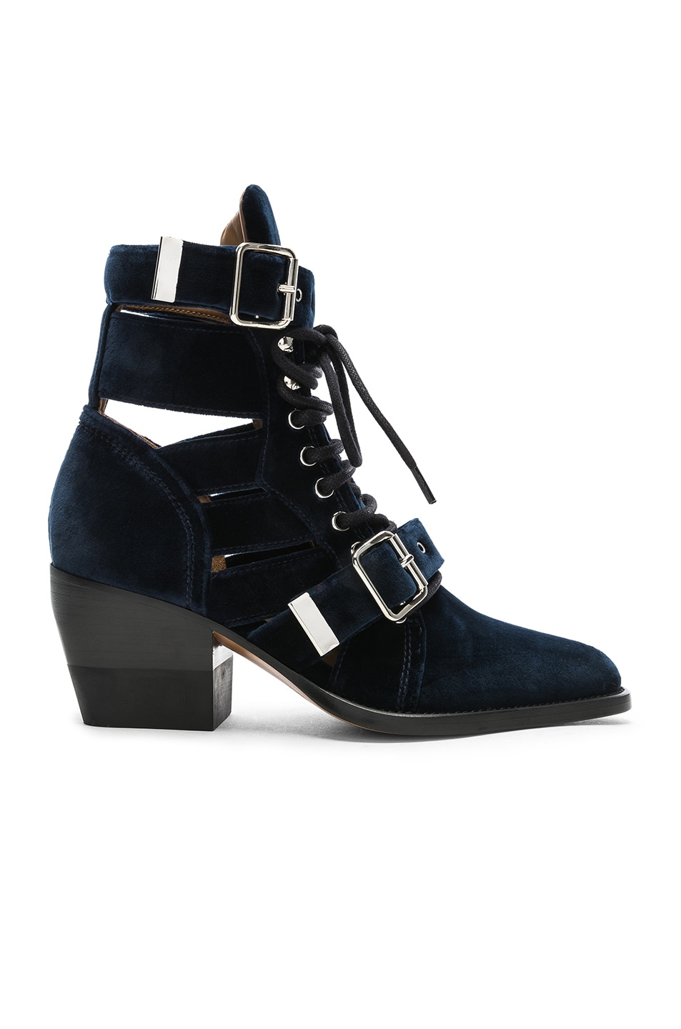 Image 1 of Chloe Rylee Velvet Lace Up Buckle Boots in Blue Lagoon