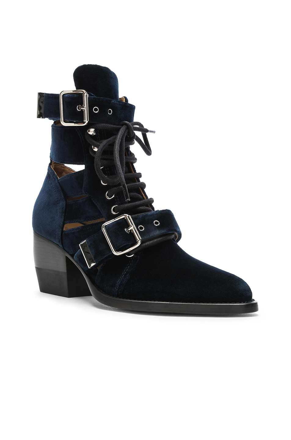 Image 2 of Chloe Rylee Velvet Lace Up Buckle Boots in Blue Lagoon