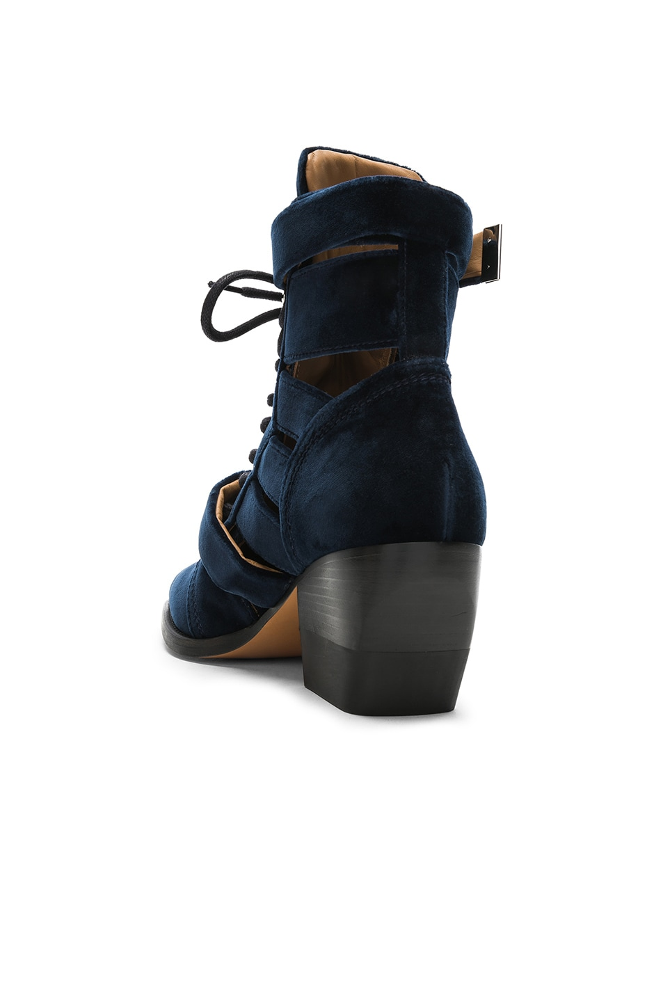 Image 3 of Chloe Rylee Velvet Lace Up Buckle Boots in Blue Lagoon
