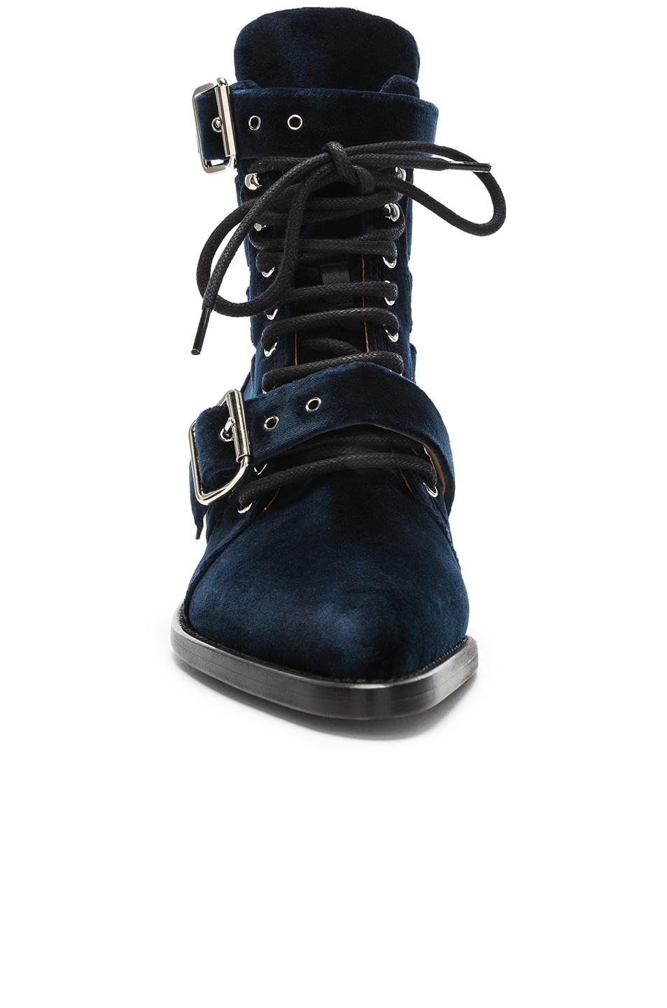 Image 4 of Chloe Rylee Velvet Lace Up Buckle Boots in Blue Lagoon