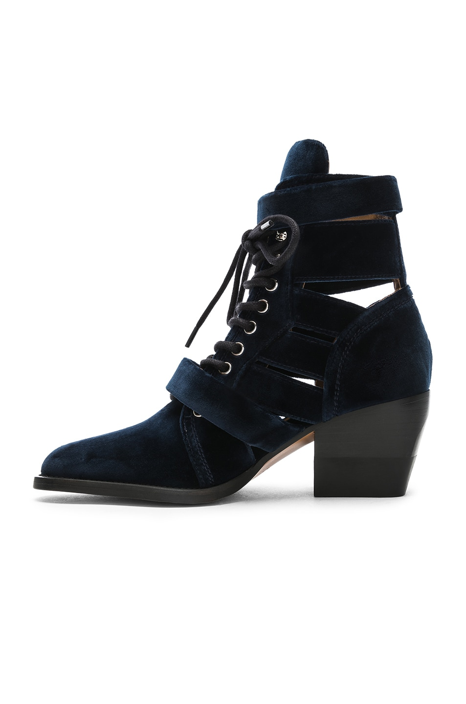 Image 5 of Chloe Rylee Velvet Lace Up Buckle Boots in Blue Lagoon