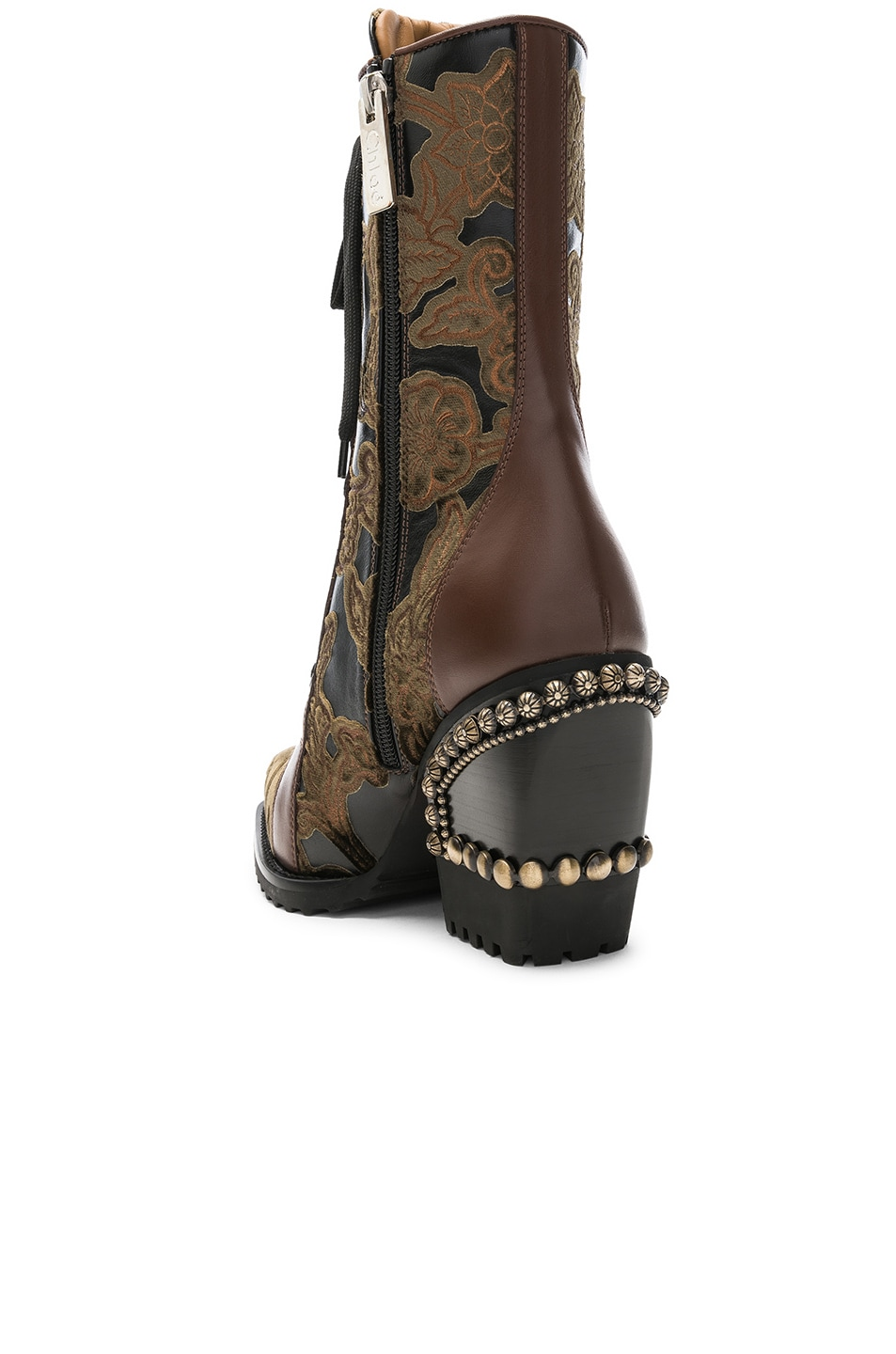 Image 3 of Chloe Rylee Baroque Velvet Lace Up Boots in Bold Brown