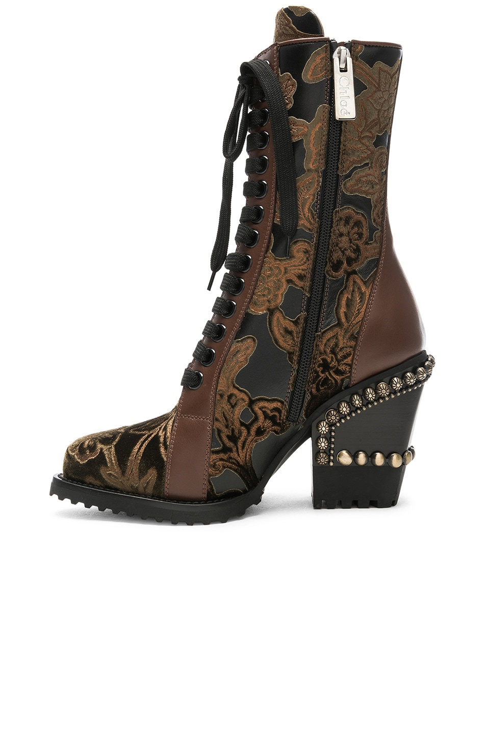 Image 5 of Chloe Rylee Baroque Velvet Lace Up Boots in Bold Brown