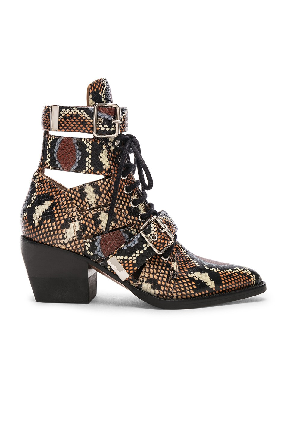 Image 1 of Chloe Lace Up Booties in Multicolor Purple