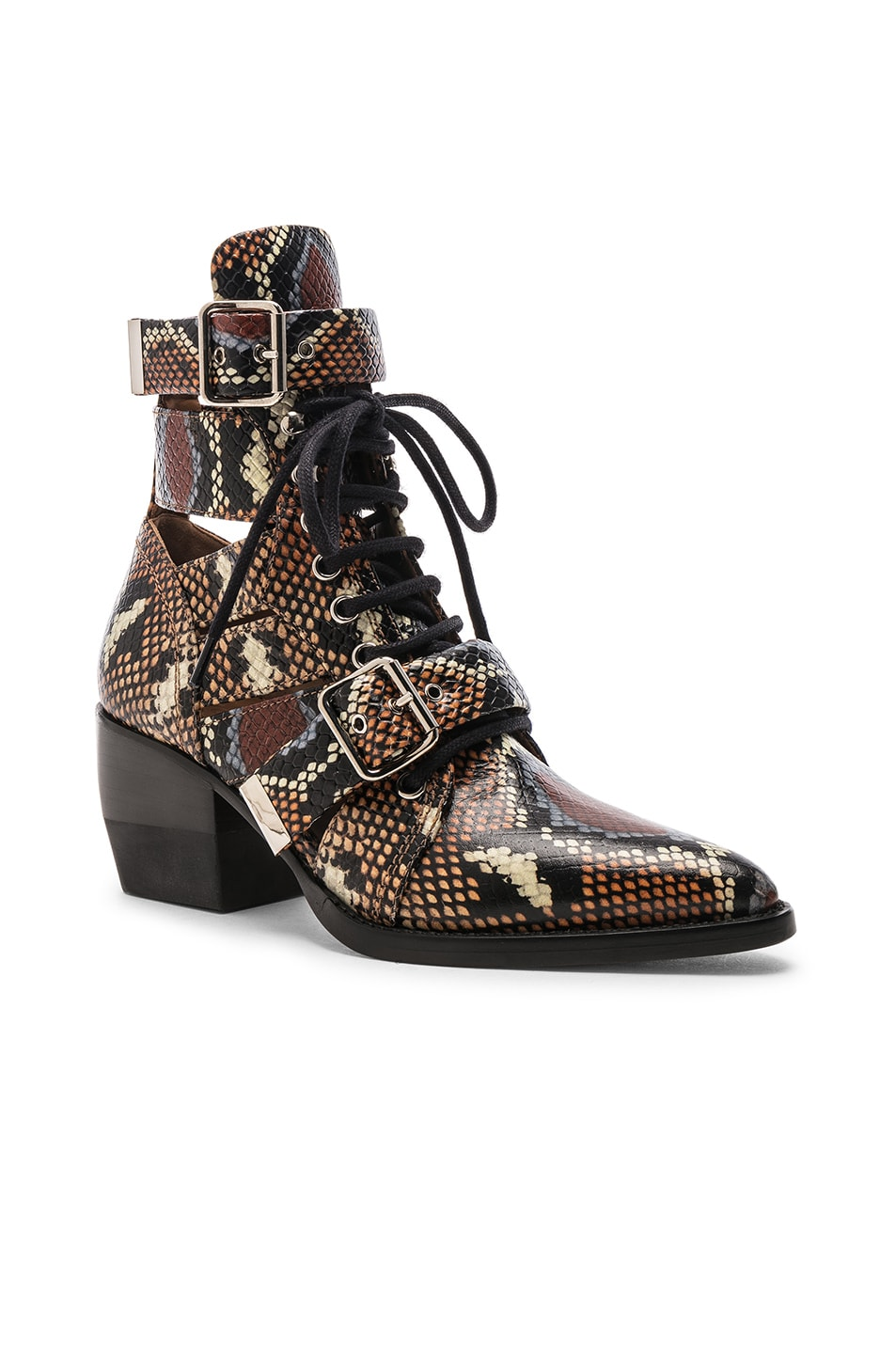 Image 2 of Chloe Lace Up Booties in Multicolor Purple