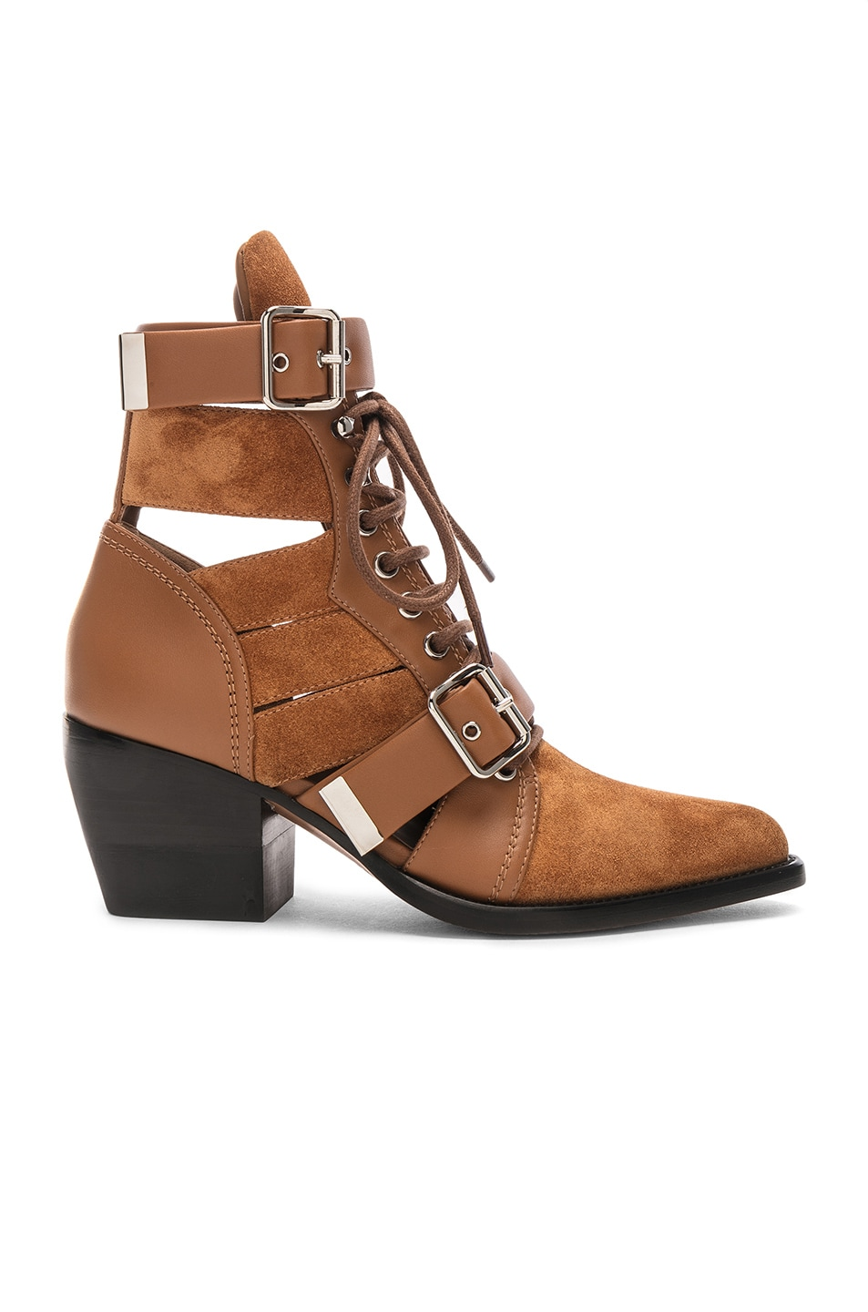 Image 1 of Chloe Lace Up Booties in Natural Brown