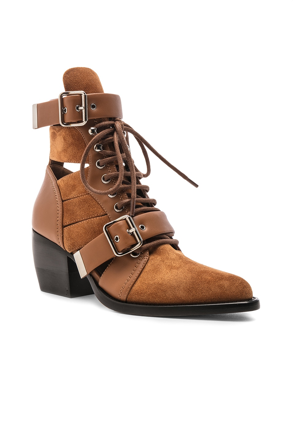 Image 2 of Chloe Lace Up Booties in Natural Brown