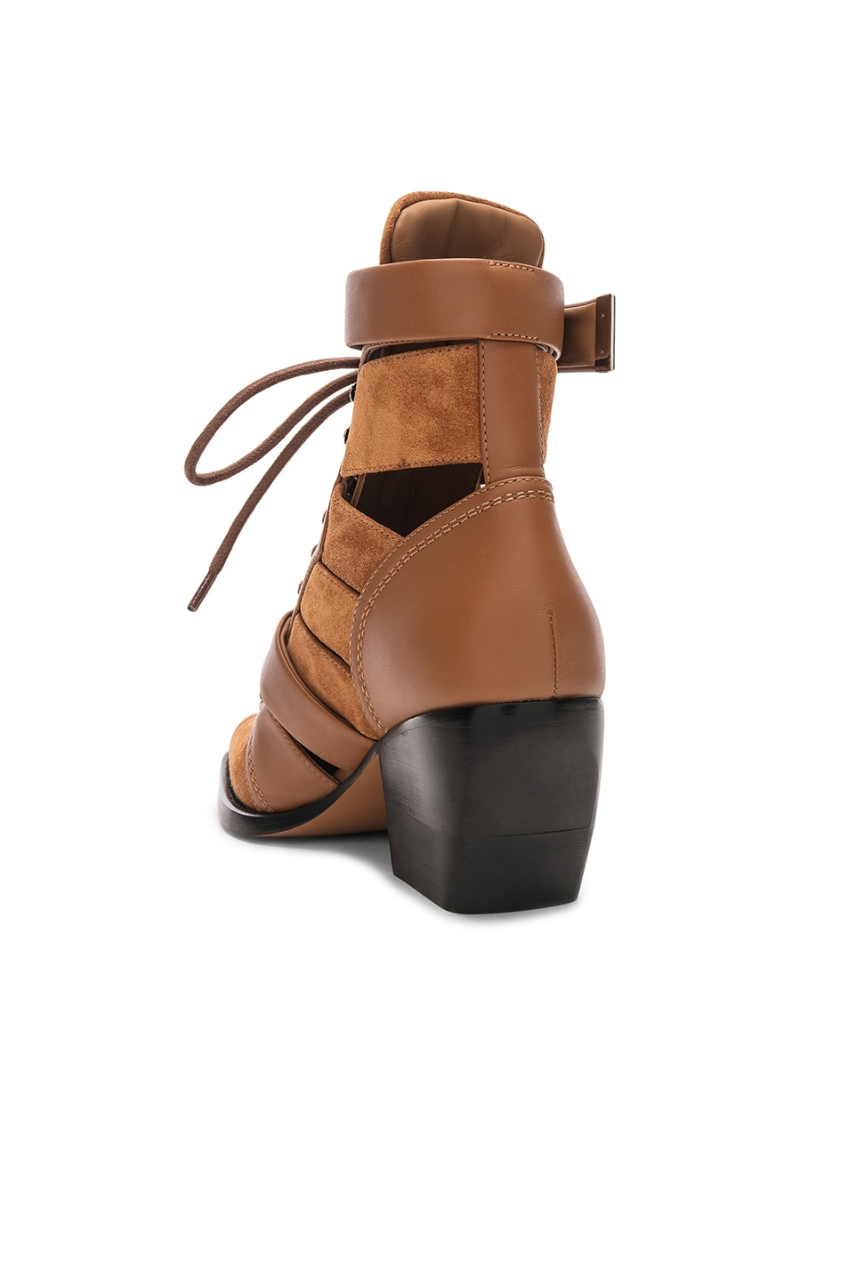 Image 3 of Chloe Lace Up Booties in Natural Brown