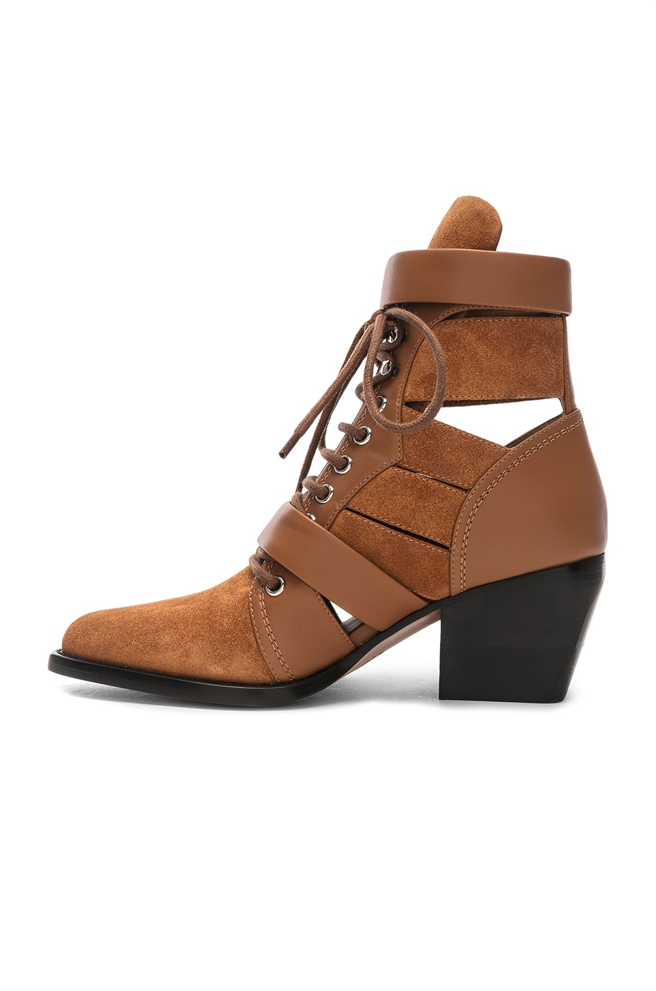 Image 5 of Chloe Lace Up Booties in Natural Brown