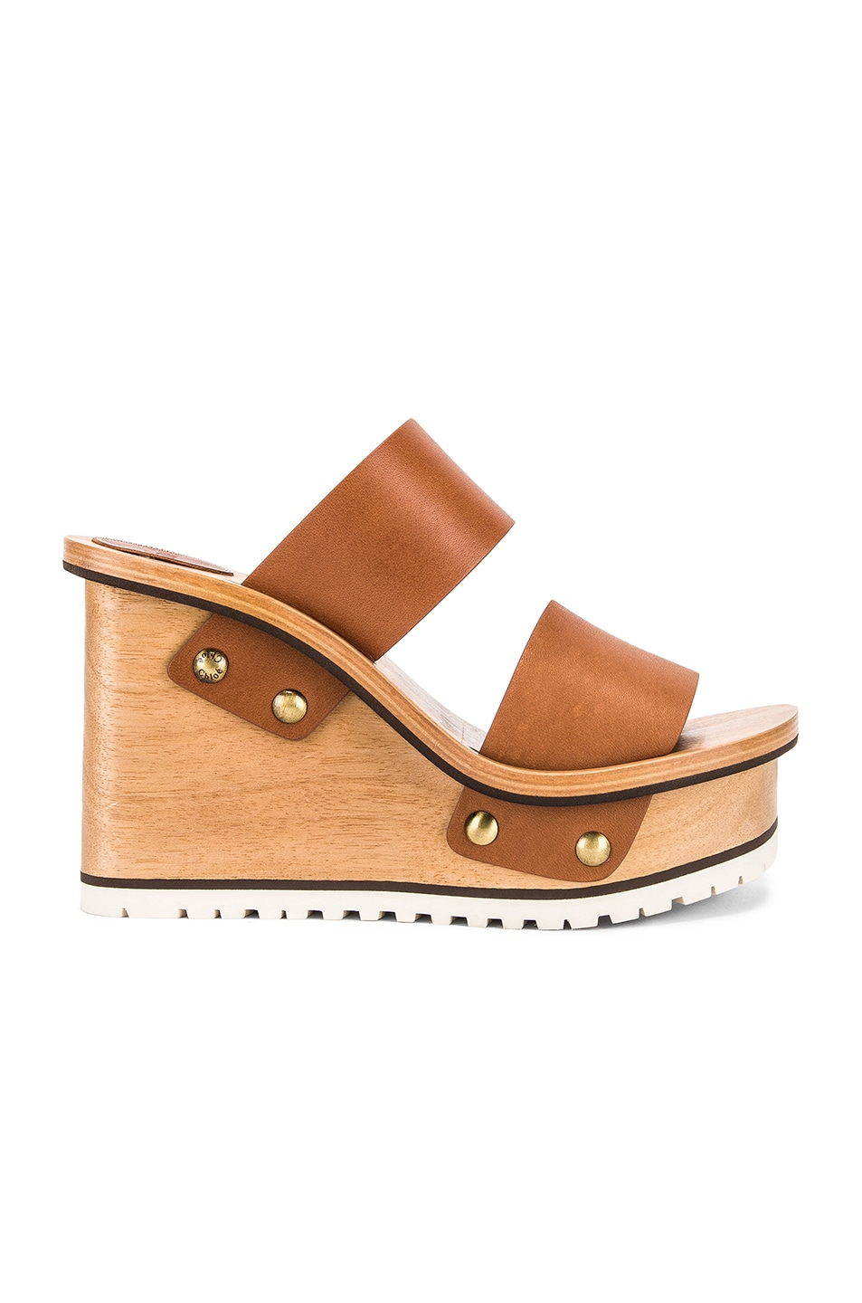 Image 1 of Chloe Two Strap Wedge in Woody Beige