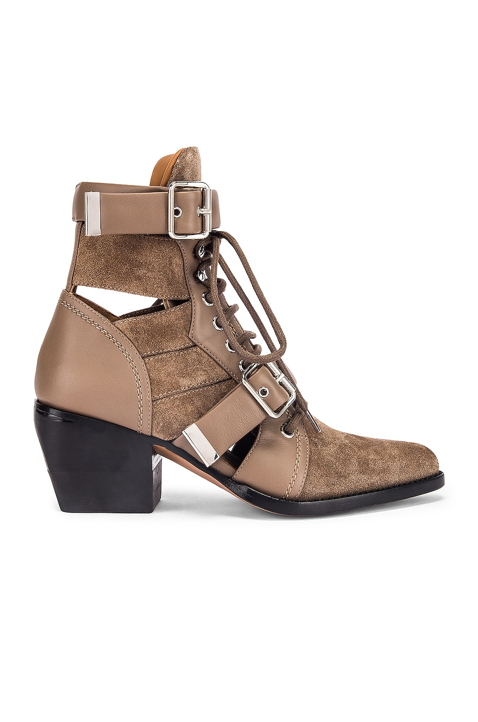 Image 1 of Chloe Lace Up Buckle Boots in Motty Grey