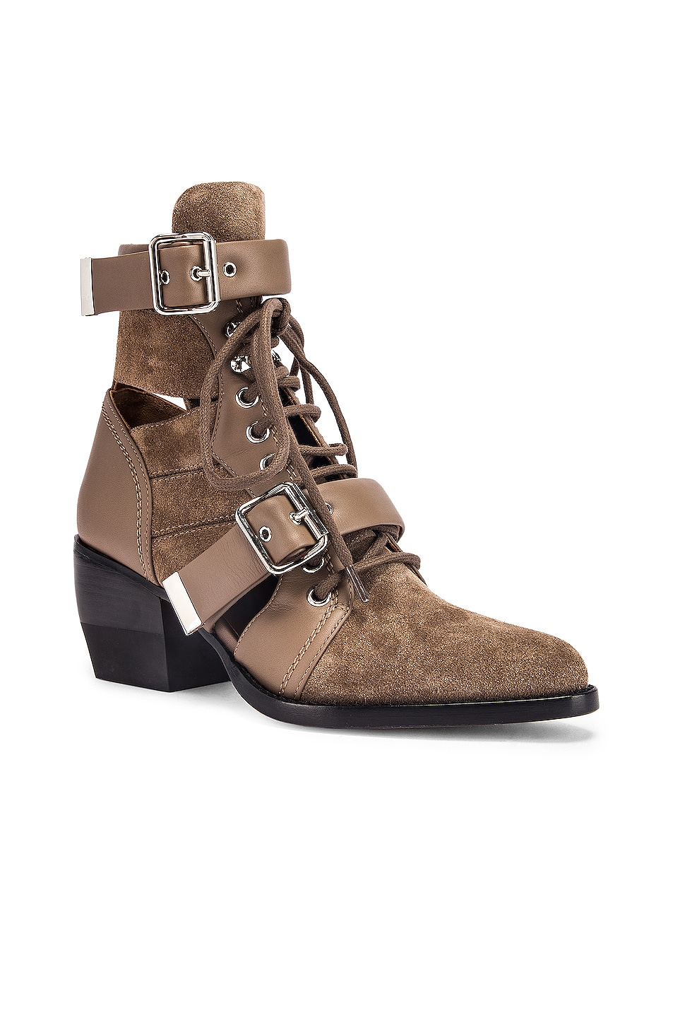Image 2 of Chloe Lace Up Buckle Boots in Motty Grey