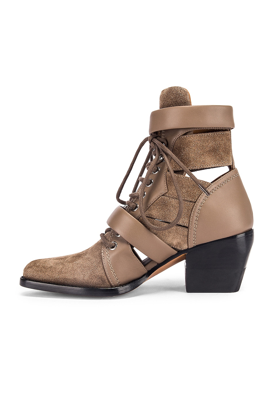Image 5 of Chloe Lace Up Buckle Boots in Motty Grey