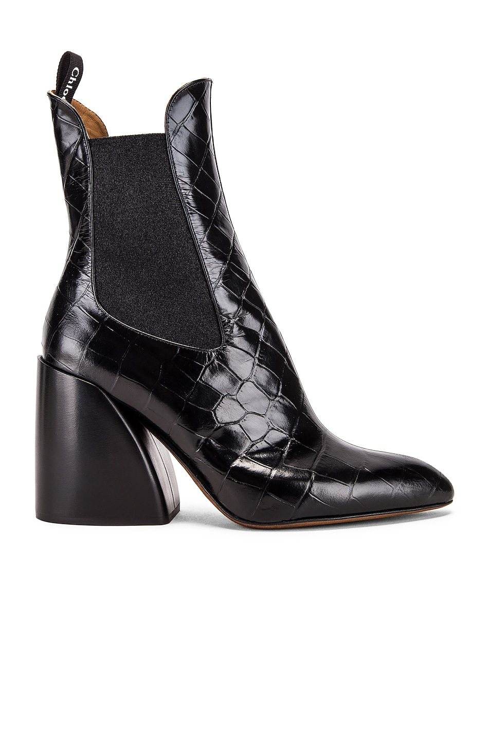 Image 1 of Chloe Croc Embossed Chelsea Booties in Black