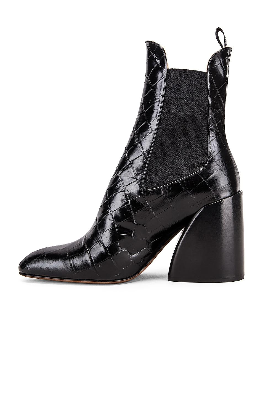 Image 5 of Chloe Croc Embossed Chelsea Booties in Black