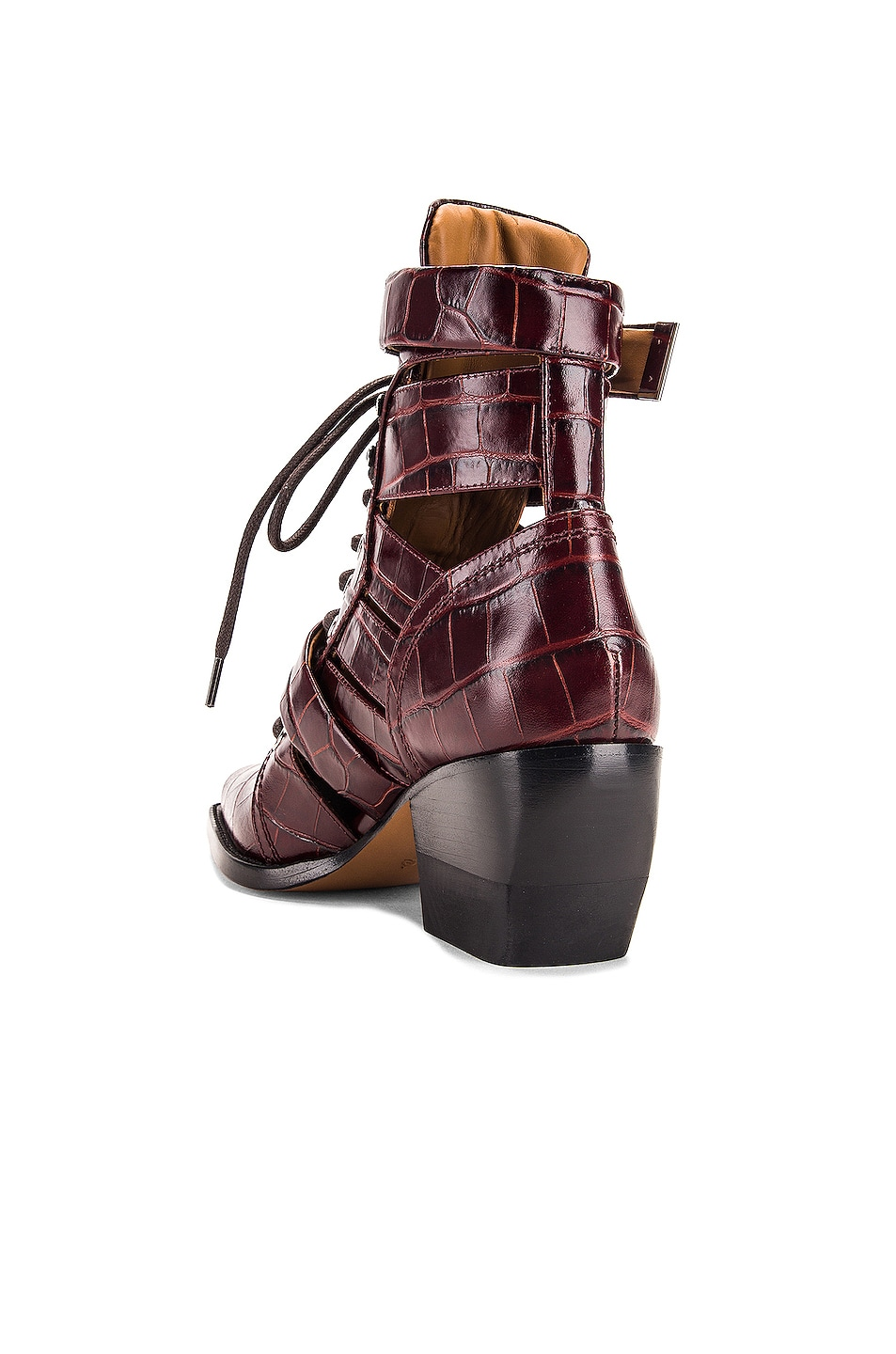 Image 3 of Chloe Rylee Croc Embossed Calfskin Lace Up Booties in Hot Tan