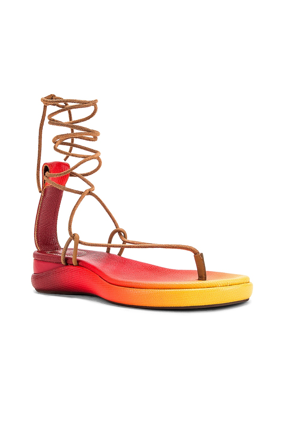 Image 2 of Chloe Tie Sandals in Yellow & Red