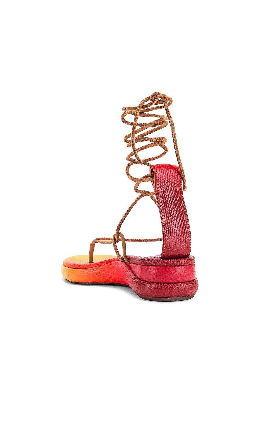 Image 3 of Chloe Tie Sandals in Yellow & Red
