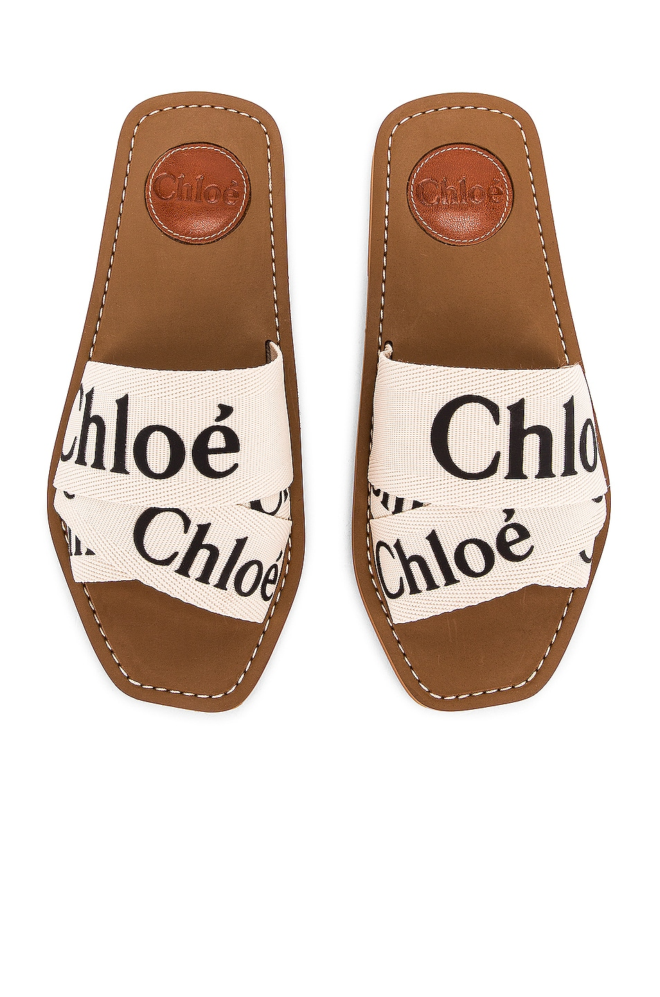 Image 1 of Chloe Logo Sandals in White