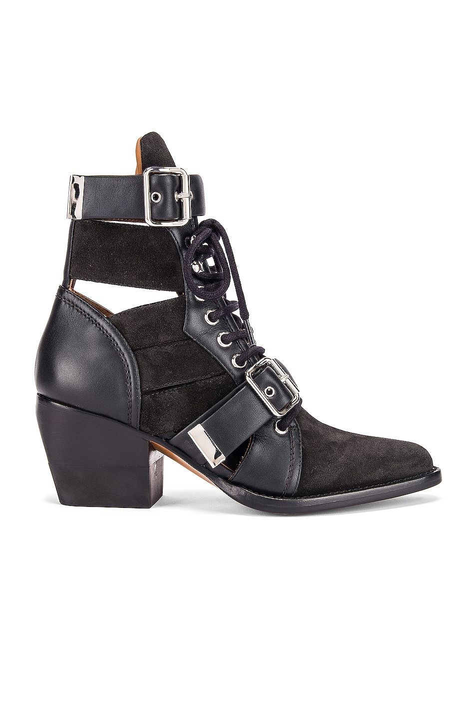Image 1 of Chloe Lace Up Buckle Boots in Charcoal Black