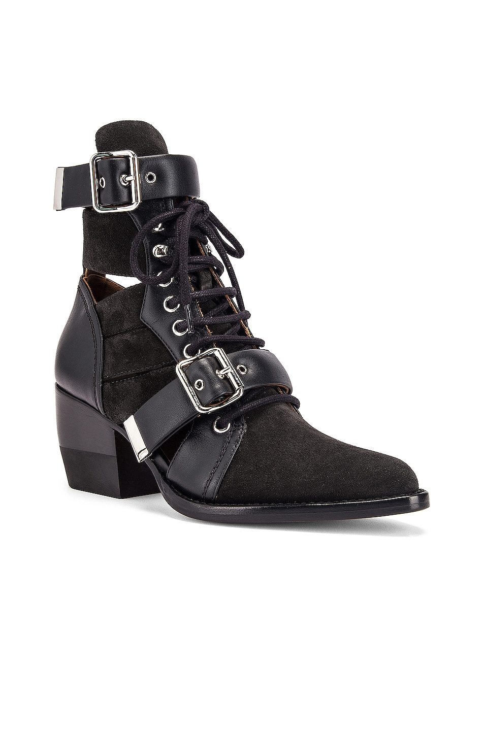 Image 2 of Chloe Lace Up Buckle Boots in Charcoal Black