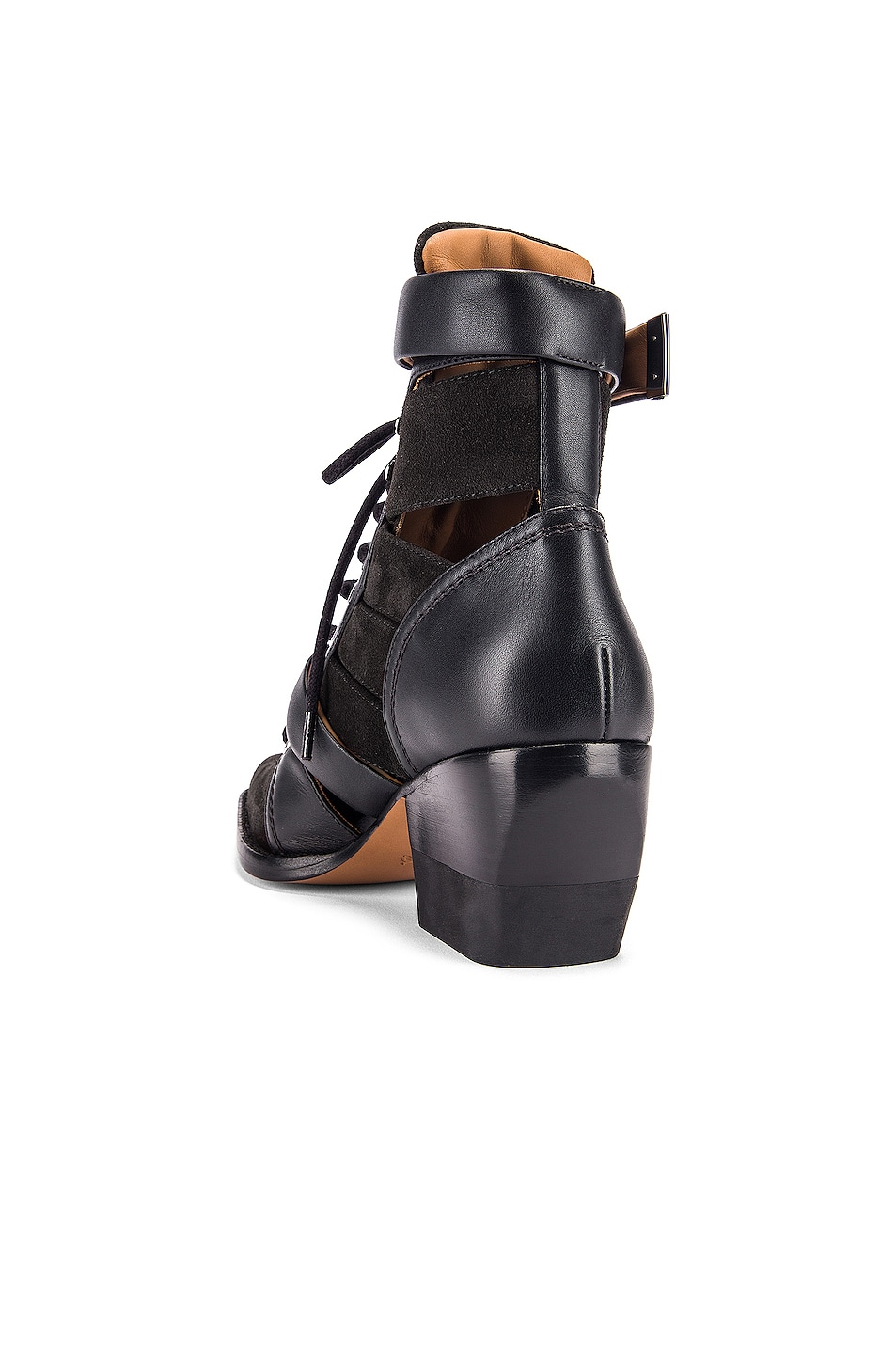 Image 3 of Chloe Lace Up Buckle Boots in Charcoal Black
