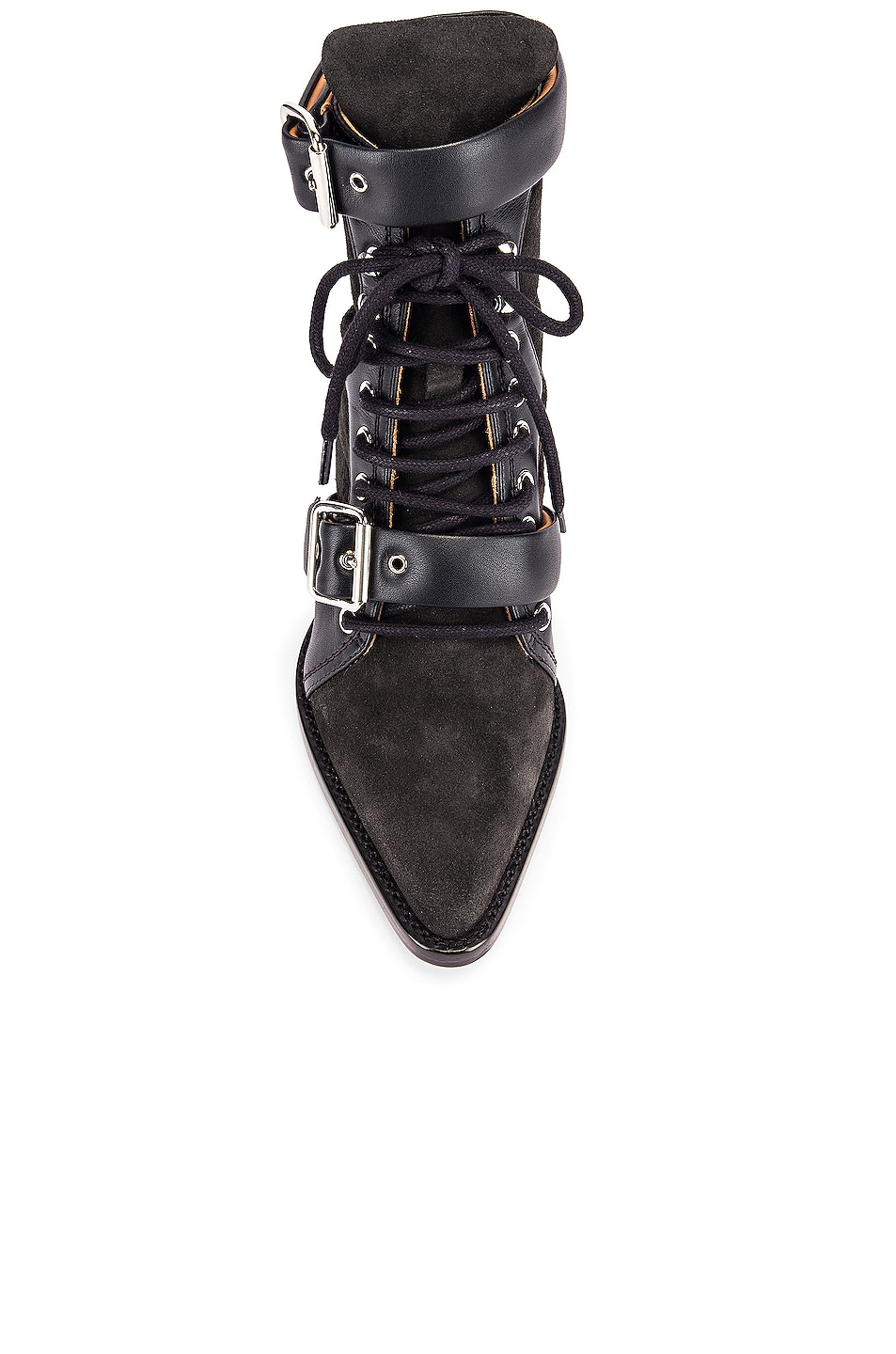 Image 4 of Chloe Lace Up Buckle Boots in Charcoal Black
