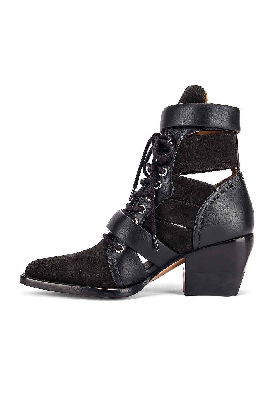 Image 5 of Chloe Lace Up Buckle Boots in Charcoal Black
